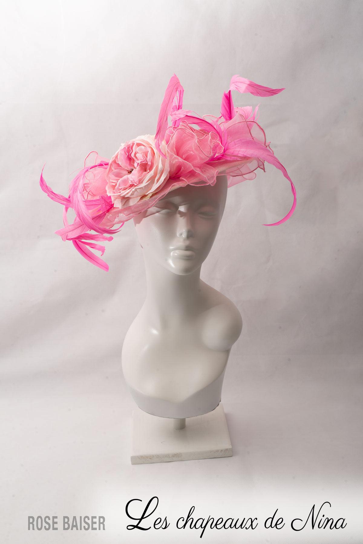 Chapeau de Cérémonie  Rose Baiser